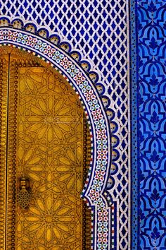 I love seeing how art and design are so richly and deeply a part of other cultures and every day life - something like a doorway can be stunning and remarkable. Fez, Morocco - Brass Door and Tile Work at the Royal Palace, Dar al-Makhzen Marrakech, Moroccan Design, Moroccan Style, Moroccan Blue, Moroccan Pattern, Moroccan Art, Islamic Architecture, Art And Architecture, Morrocan Architecture