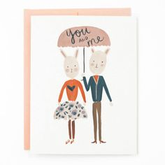 Cute bunny 'You And Me' Card by Quill and Fox #illustration #valentine #card