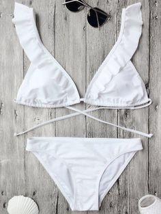 Ruffles Back Tied Padded Bikini Set Psychedelic Monk Cute Swimsuits, Cute Bikinis, Bikini Beach, Bikini Swimwear, White Bikini Set, Mode Du Bikini, Flounce Bikini, Bandeau Tops, Bikini Types