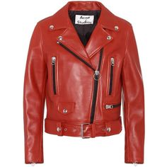 Acne Studios Mock Leather Biker Jacket ($1,880) ❤ liked on Polyvore featuring outerwear, jackets, red, red motorcycle jacket, real leather jackets, leather jackets, rider jacket and biker jackets
