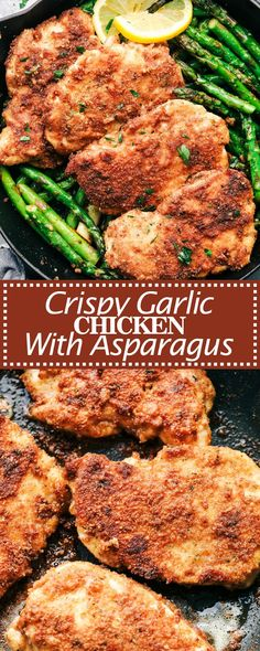 Crispy Garlic Chicken with Asparagus is an easy 30 minute meal with crispy breaded chicken and crisp and tender asparagus. Esparagus Recipes, Dinner Recipes, Cooking Recipes, Healthy Recipes, Steak Recipes, Potato Recipes, Healthy Meals, Dinner Ideas, Dessert Recipes