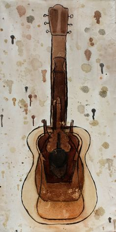 The History of Guitar, painted with wood finish onto a canvas. Which by the way doesn't work so well. I make it work!