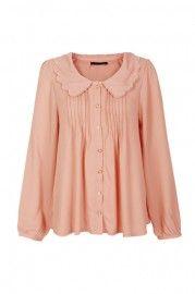 Pleated Main Nude Pink Blouse  $45.99    romwe.com #Romwe