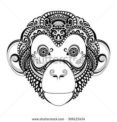 Monkey Tattoo of the Year | Ornate Monkey Head. Patterned Tribal Monochrome Design. Symbol of the ...