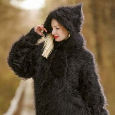 Fuzzy 100% hand knitted fluffy mohair sweater, made to order, size S, M, L, XL