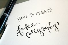 scissorsandthread:    Fake Calligraphy | Jones Design Company  I'm pretty jealous of people who have great handwriting, especially those who can do calligraphy! I should really try and find out if there's a course in Adelaide. But until then, here's a tutorial on how to fake it til you can make it! Haha! If that seems to be too much work too, there's also a free font download too.
