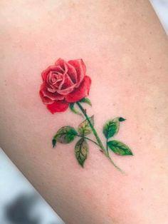 My rose tattoo Single Rose Tattoos, Rose Tattoos For Women, Ankle Tattoos For Women, Tattoos For Women Small, Skull Rose Tattoos, Pink Rose Tattoos, Flower Tattoos, Body Art Tattoos, Little Tattoos