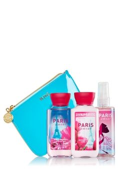 Paris Amour - Lucky Penny Gift Set - Bath & Body Works - It's her lucky day! Perfect for life's little necessities, our coin clutch is lined inside and super stylish on the outside with perfectly patent and faux leather finishes. Must-have miniatures of our Daily Trio are ready for gifting with a colorful ribbon on our ultra lathering Shower Gel, hydrating Body Lotion and skin-loving Fine Fragrance Mist (3 fl oz each).