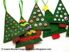 Diy Felt Christmas ornaments New Felt Christmas Tree ornaments Diy What A Fun Way to Use Your Christmas Sewing, Christmas Crafts For Kids, Homemade Christmas, Christmas Projects, Holiday Crafts, Christmas Diy, Christmas Trees, Simple Christmas, Felt Crafts Kids