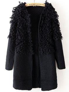 Jersey combinado mullido manga larga-Negro