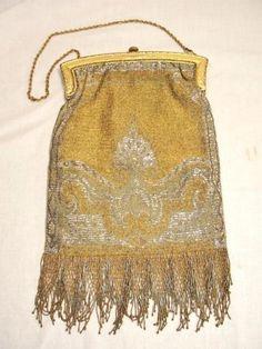 Vintage Art Deco FRENCH CUT STEEL Bead Mesh GOLD PURSE Lattice Fringe LARGE #French #Beadhandbag #Cocktail
