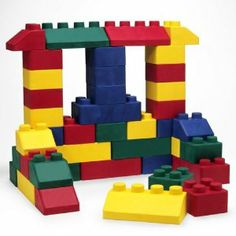 """EduBlock Set II (50 pcs.) by Edushape Ltd. $193.39. 26 pieces. Flexible and easy to stack. 4 colors and assorted shapes. Durable, washable, and non-toxic. Unique soft blocks. All ages. Bendable, twistable, stackable blocks are perfect for creative building!  Soft materials improve construction site safety, and the bright colors are appealing to children. 50 pieces. 4 1/2"""" x 4 1/2"""" x 3 1/2"""".. Save 25%!"""