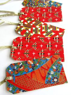 Japanese Paper Gift Tags in Christmas Colors by XmasMuse
