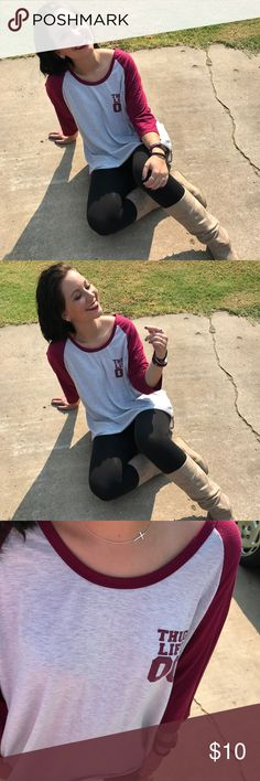 Rue 21 Oversized baseball style quarter sleeve Incredibly cute and comfortable oversized baseball T. Thug life 00 on the front. 2X Tops Tees - Long Sleeve