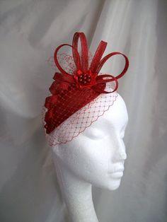 Poppy Red Veil Sinamay Loop & Crystal Pearl Teardrop Wedding Fascinator Mini Hat - Custom Made to Order by IndigoDaisyWeddings on Etsy https://www.etsy.com/listing/109748147/poppy-red-veil-sinamay-loop-crystal
