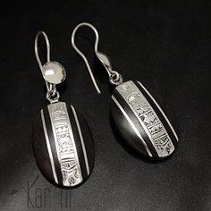 Boucles d'oreilles bijoux touareg en argent et ébène Petites ovales