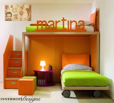 This teenagers' room is feminine without being all pink! Orange and green are a fun and bright combination.