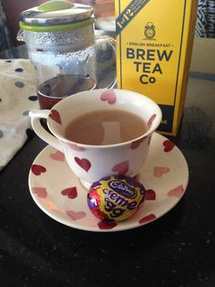 Enjoying a cup of @brewteaco English Breakfast & a #CremeEgg while baby sleeps. It is waster after all  #BrewTime