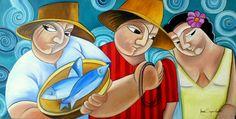 by Aurea Seganfredo - oil on canvas - Fishermen