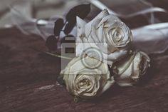 Carta da parati White roses, with effect