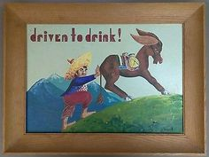 Outsider Folk Art Signed Painting Mexican Bar Drinking Tequila Donkey Sombrero