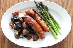 Lemongrass chili sausages (handmade, locally), grilled asparagus, Rosemary roasted potatoes | Le Mu; Hampton, VA #hrva