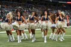 St. Louis Rams cheerleaders perform during an NFL week 7 football game against the Green Bay Packers on Sunday, Oct. 21 in St. Louis. The Packers won the game 30-20. (AP Photo/G. Newman Lowrance)