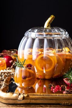 My go-to Thanksgiving Sangria to kick off a night with family and friends.one of my favorite festive pitcher style drinks to serve up this November! Pumpkin Wine, Pumpkin Butter, Apple Butter, Thanksgiving Sangria, Thanksgiving Recipes, Holiday Recipes, Thanksgiving Appetizers, Happy Thanksgiving, Christmas Sangria