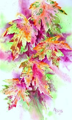 Pastel Leaves by Martha Kisling
