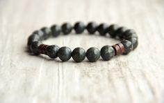 Men green bracelet Boyfriend gift Gem jewelry by AllAboutHandmade1