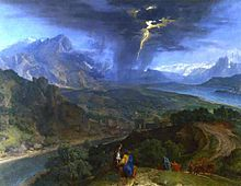 Francisque Millet - mountain landscape with lightning.JPG