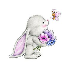 Illustration : Cute bunny and butterfly