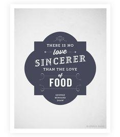 Art Print - Food Quote - Typographic Print - Kitchen Art - George Bernard Shaw - 8.5x11