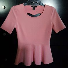 FOREVER 21 BLOUSE!! Peachy/ pink peplum top! Heart cut out on backside of top. Nice material and patterned details. Worn once, great condition! No stains or rips. Very cute Forever 21 Tops Blouses