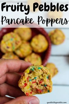 Fruity Pebbles Pancake Poppers are a fun and colorful mini pancake. A kid friendly breakfast that can be tossed together in minutes! Good Food, Yummy Food, Delicious Recipes, Fruity Pebbles Cereal, Homemade Gummy Bears, Tater Tot Breakfast Casserole, Pancake Bites, Sugar Free Maple Syrup, Birthday Breakfast