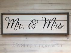 Mr. & Mrs. | Farmhouse Bedroom Decor | Wood Painted Sign | Farmhouse Decor | Solid Wood Sign | Rusti Distressed Furniture Painting, Painting On Wood, Painted Furniture, Rustic Wedding Signs, Farmhouse Bedroom Decor, Guest Suite, Handmade Furniture, Wood Veneer, Painted Signs