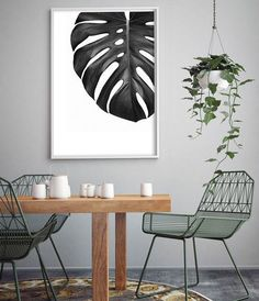 Monstera Leaf Print Tropical Leaf Print Affiche Scandinave Black and White Print Botanical Wall Art Botanical Print Tropical Print Interior Tropical, Art Tropical, Tropical Home Decor, Tropical Houses, Tropical Leaves, Tropical Furniture, Botanical Wall Art, Botanical Prints, Deco Jungle