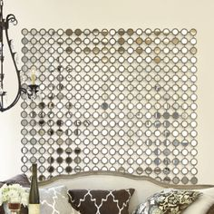 """Will be making this over the weekend with (6)10-packs of 2"""" round mirrors from Hobby Lobby (@2.49 each) and a roll of double stick tape(!)"""