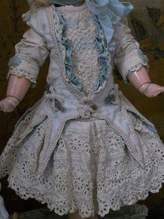 ~~~ Pretty French White Pique Dress with Bonnet ~~~