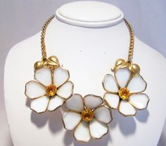 Art Deco  poured glass flower necklace •3 large, almost 2 inches diameter, white…