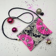 Items similar to STATEMENT SHOULDER BAG in navy and white vintage fabric embellished with a fluoro pink print and silver glitter jewels. on Etsy Pink Clutch, Clutch Bags, Navy And White Dress, Navy Fabric, Polka Dot Print, Vintage Dress, Silver Glitter, Bristol, Bag Making