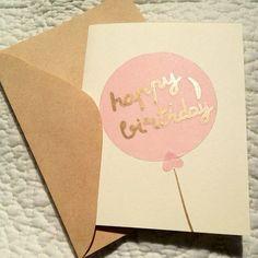 Gold Birthday Balloon Card on Etsy, $4.01 AUD