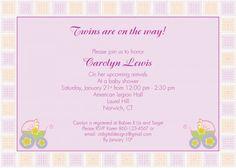 Custom baby shower invitation designed for twins.