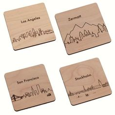 Your Choice 4 City Coasters - Laser cut and Etched on Wood