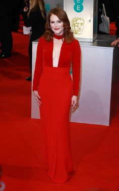 Julianne Moore in a red long-sleeve Tom Ford gown at the 2015 BAFTAs