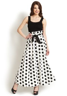 $59.99   GRACIA Polka-Dot Maxi Skirt