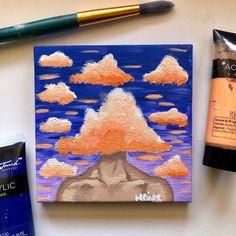 m i c h e l l e canvas art Simple Canvas Paintings, Small Canvas Art, Mini Canvas Art, Acrylic Painting Canvas, Acrylic Art, Trippy Painting, Painting & Drawing, Aesthetic Painting, Aesthetic Art