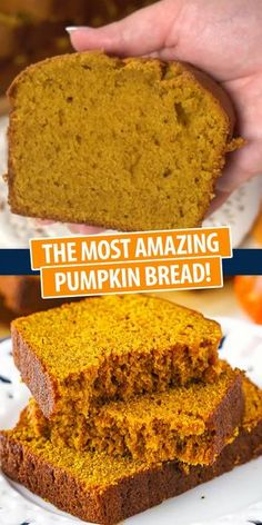 Keto Discover The Most Amazing Pumpkin Bread Easy and moist loaf full of flavor pumpkin and spice! This yummy pumpkin bread is great for the fall season! Bring on the pumpkin! Köstliche Desserts, Delicious Desserts, Dessert Recipes, Yummy Food, Health Desserts, Bon Dessert, Dessert Bread, Easy Bread Recipes, Keto Recipes
