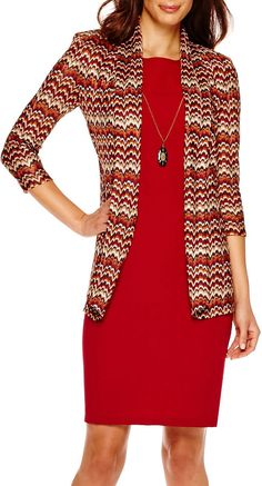 Danny & Nicole 3/4-Sleeve Knit Jacket Dress