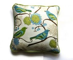 Cushion / pillow cover with birds and flowers by LeahRoseDesigns for $32.00